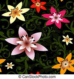 pretas, (vector), padrão floral, abstratos, seamless