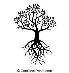 pretas, vetorial, árvore, raizes