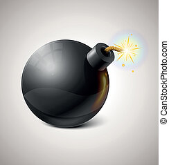 pretas, vetorial, bomba, ilustração