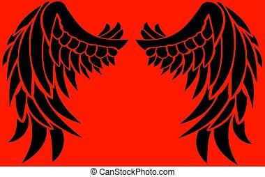 preto vermelho, asas, fundo