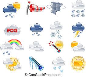 previsão tempo, ícones