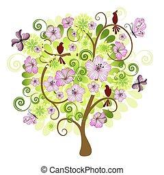 primavera, árvore, decorativo