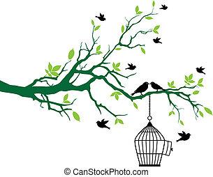 primavera, árvore, pássaros, birdcage