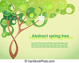 primavera, abstratos, flores, árvore