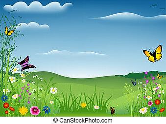 primavera, borboletas, paisagem