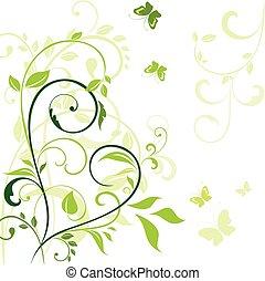 primavera, borda, verde