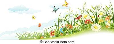 primavera, capim, flores