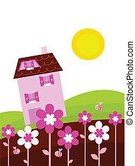 primavera, casa, país, flores, fantasia