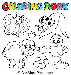 primavera, coloração, animais, livro