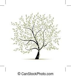 primavera, desenho, árvore, verde, seu