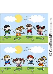 primavera, feliz, crianças, verão