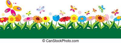 primavera, ilustração, vetorial
