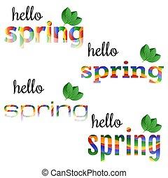 primavera, jogo, olá, coloridos, frases