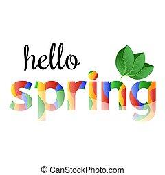 primavera, leaves., verde, frase, ?olorful, olá