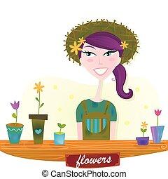 primavera, mulher, flores, jardim