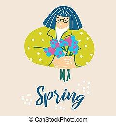 primavera, mulher, ilustração, flores, buquet, caricatura, vector.