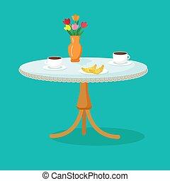 primavera, openwork, caricatura, croissants, toalha de mesa, tabela, cafe., elegante, copos, vector., café, flores, vase.