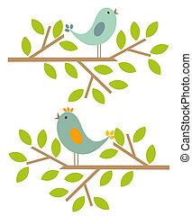 primavera, pássaros