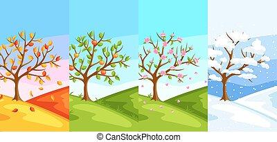 primavera, paisagem, seasons., quatro, inverno, árvore, ilustração, autumn., verão