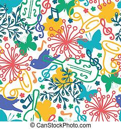 primavera, seamless, sinfonia, música, padrão experiência