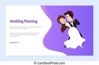 primeiro, casório, noivo, noiva, planificação, dança