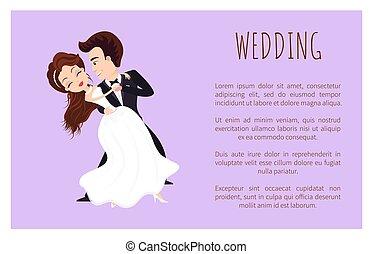 primeiro, dança, casório, cartaz, par, recém casado, dançar