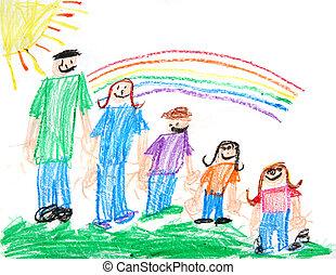 primitivo, crianças, desenho creiom, família