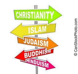 principal, religiões, cinco, seta, sinais, mundo