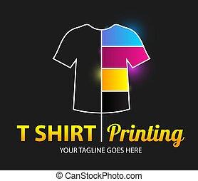 printing., logotipo, modernos, colorido, modelo, t-shirt, vetorial, abstratos