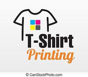 printing., t-shirt, vetorial, tipografia, impressão, branca, incorporado, colorido, isolado, experiência., abstratos, modelo, fábrica, logotipo, serigraphy, oficina, modernos, marcar, identidade