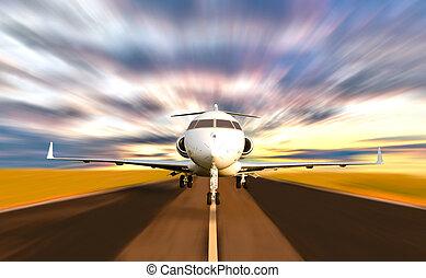 privado, turve movimento, levando, jato, desligado, avião