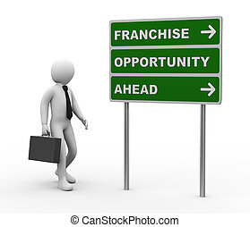 privilégio, homem negócios, 3d, oportunidades, roadsign
