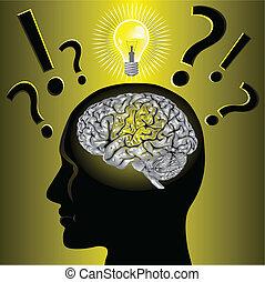problema, cérebro, resolvendo, idéia