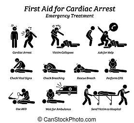 procedimentos, tratamento, ajuda, resposta, figura vara, icons., apreensão, emergência, cardiacos, primeiro
