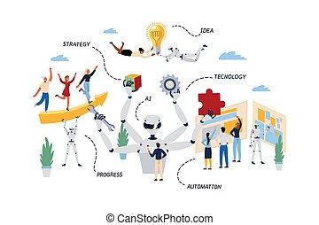 processo, rpa., negócio, robotic, conceito, automação