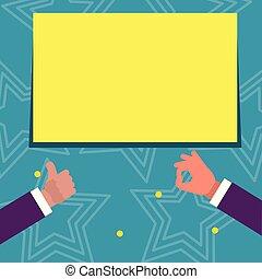 produto, gesticule, aprovação, cima, texto, mãos, idéia, space., dois, retangular, polegares, fundo, em branco, serviços, announcement., branca, sinal, promoção, criativo, homens negócios