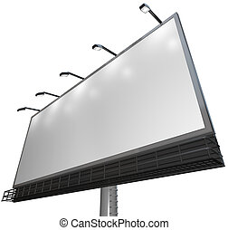 produto, -, sinal, anúncio, em branco, billboard, branca
