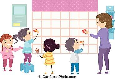 professor, estudantes, crianças, stickman, escola, calendário