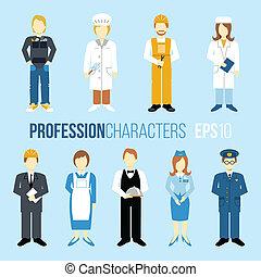 proffession, jogo, caráteres