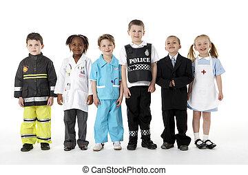 profissões, vestindo, crianças, cima, jovem
