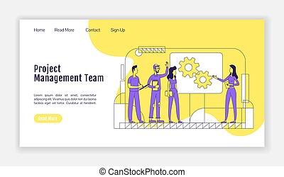 profissional, apartamento, teia, coworking, bandeira, layout., silueta, equipe, character., caricatura, interface, um, site web, esboço, webpage, página, gerência, template., trabalho equipe, homepage, vetorial, projeto, aterragem
