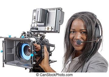 profissional, vídeo, americano, câmera, mulheres, africano, jovem