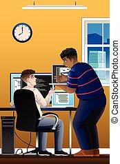 programadores, computador, escritório, trabalhando