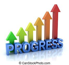 progresso, conceito, coloridos, gráfico