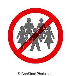 proibição, social, símbolo, distancing, reunião