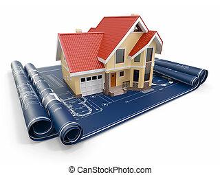 project., residencial, habitação, arquiteta, casa, blueprints.