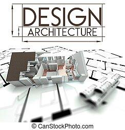 projeto, casa, desenhos técnicos, desenho, arquitetura