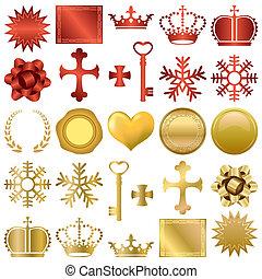 projeto fixo, ornamentos, ouro, vermelho