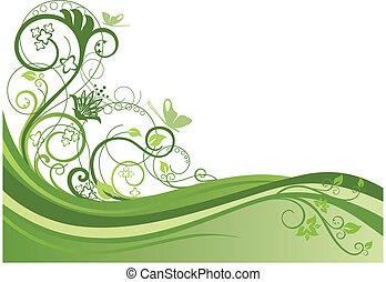 projeto floral, 1, borda, verde