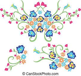projeto gráfico, flor, bordado